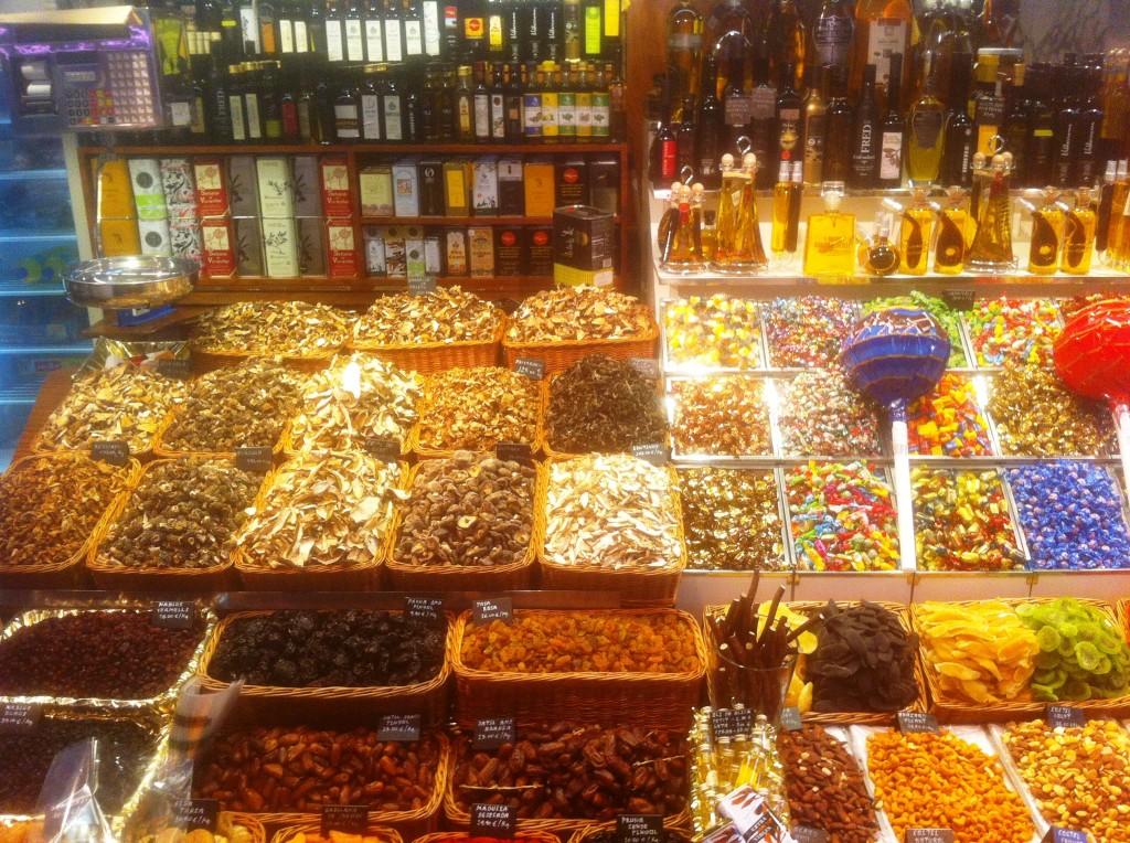 barcelona candy stand auf dem markt