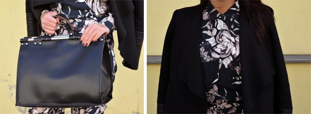 eleganter overall mit blumenmuster tasche und oberteil