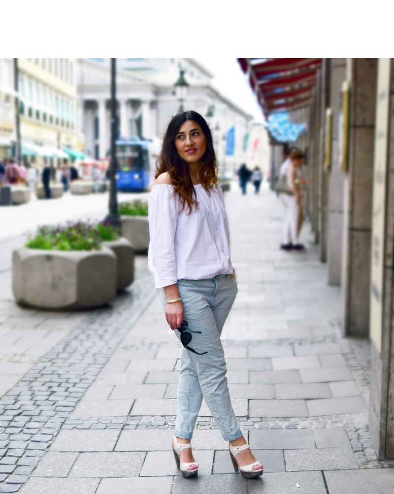 boyfriend jeans mit schulterfreiem oberteil 1