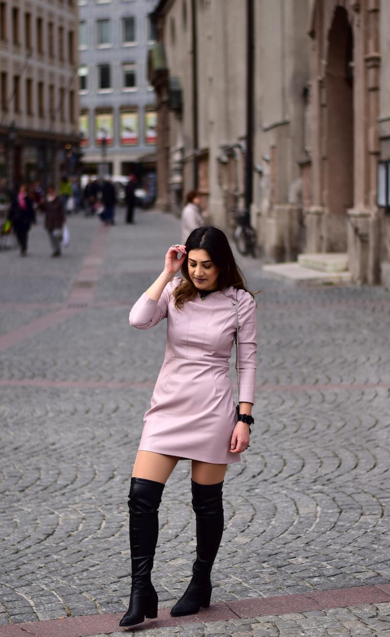 lederkleid fashion look